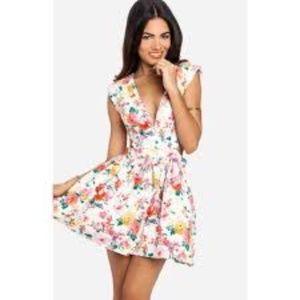 Mustard Seed Cutout Mini Dress Floral NWT L